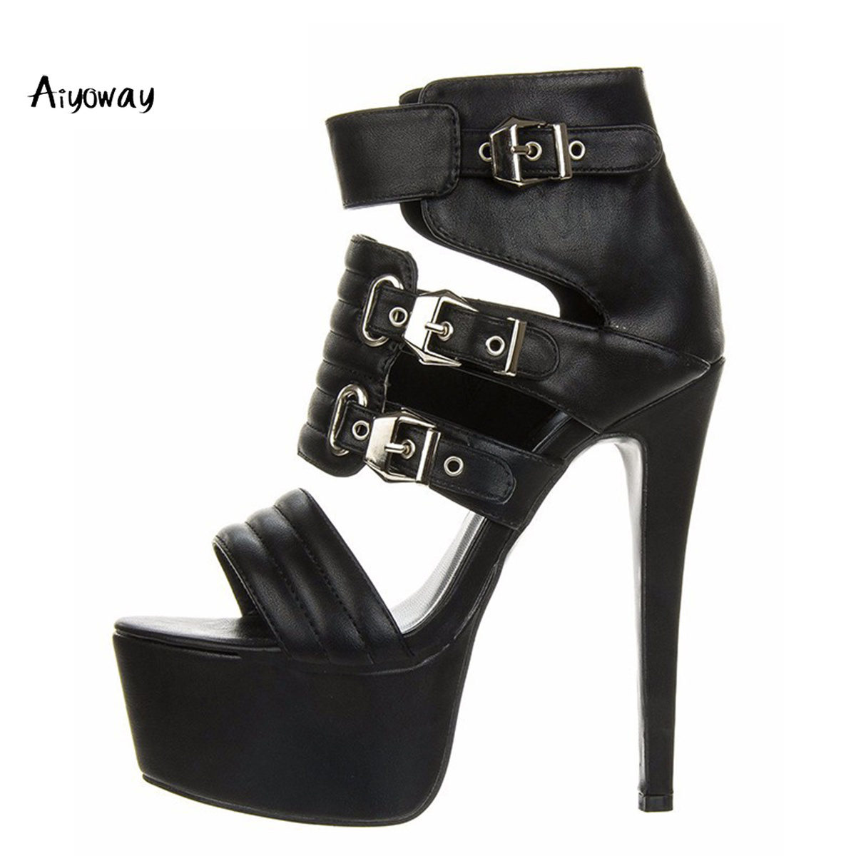 Aiyoway Women Shoes Peep Toe High Heels Sandals Platform Ankle Buckles Spring Summer Evening Party Dress Shoes Sexy Thin Heels in High Heels from Shoes