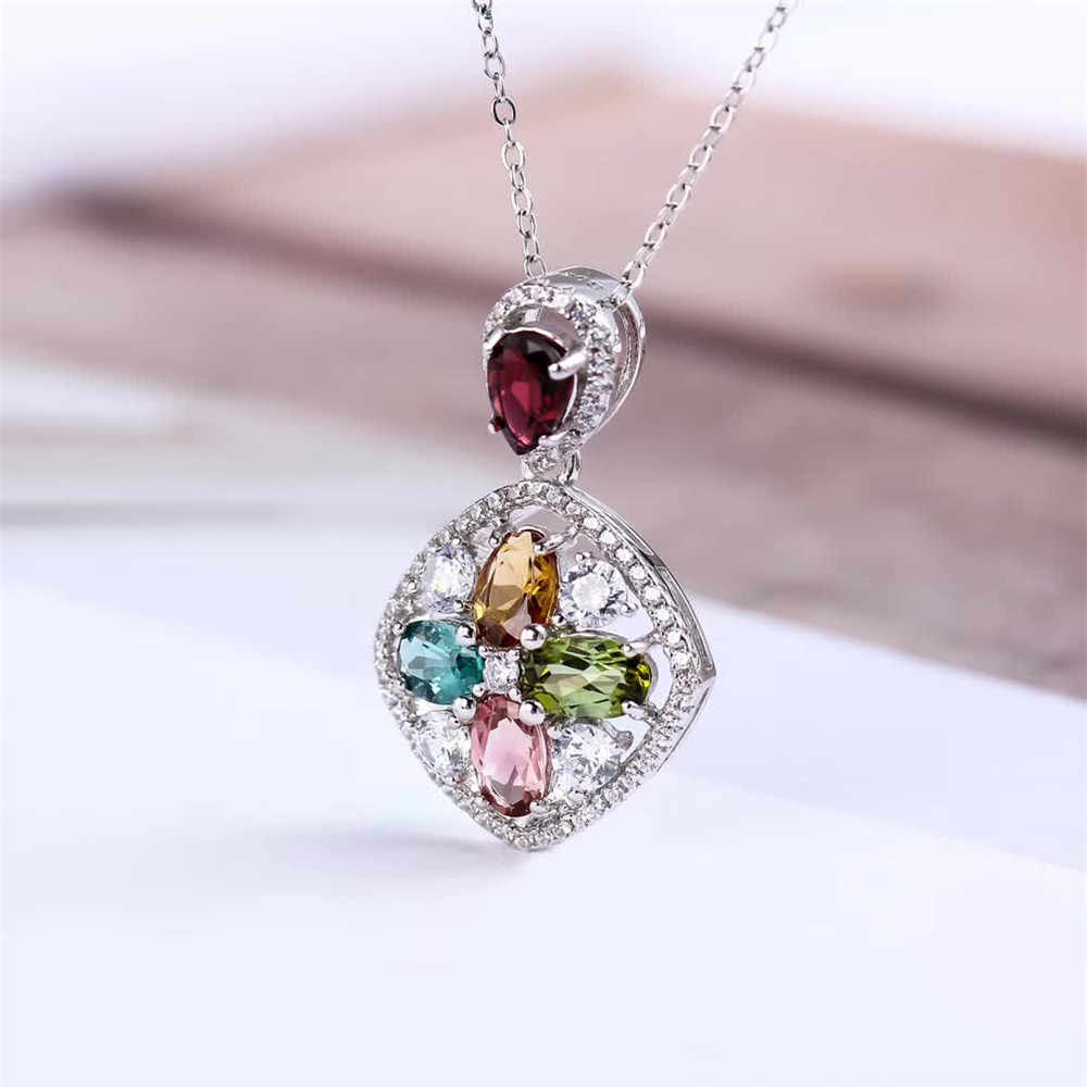 SGARIT wholesale luxury trendy gold plated 925 sterling silver gemstone colorful natural tourmaline big pendant necklace jewelry 2