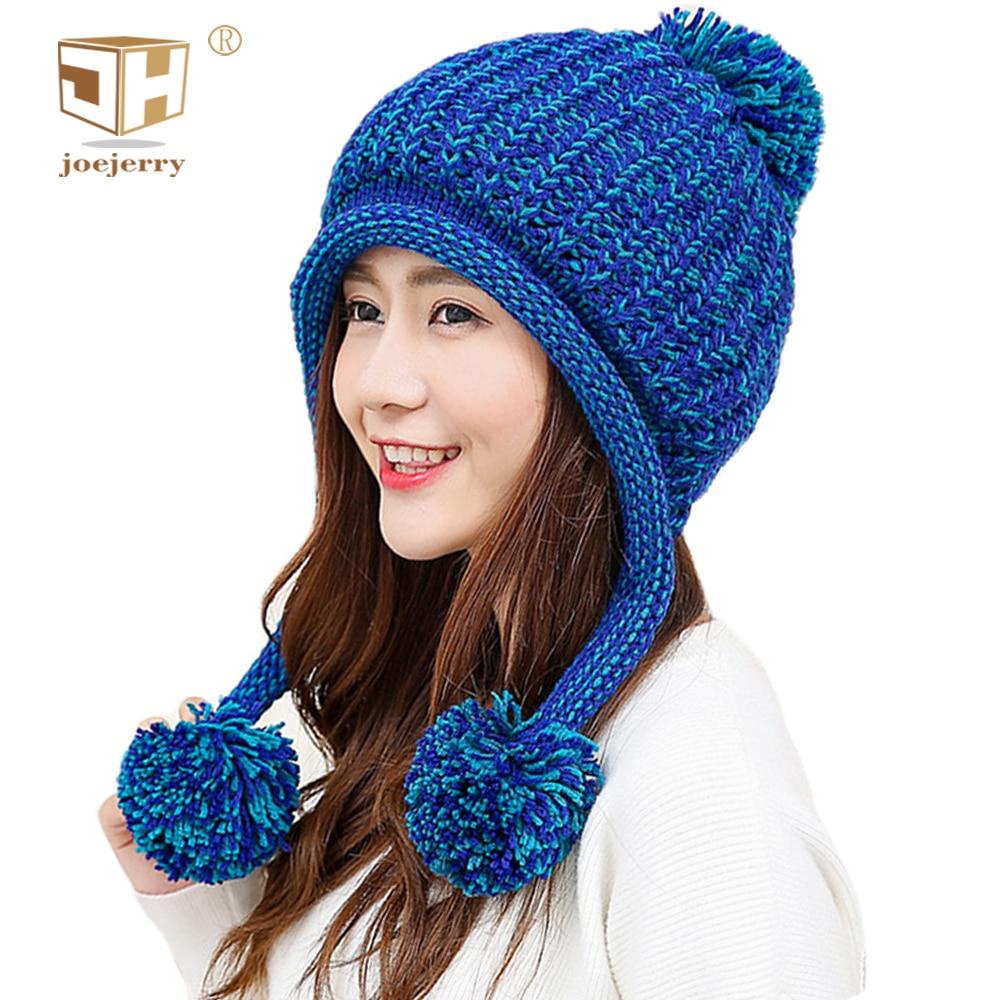 9b8f785323537 joejerry Bomber Hat Trapper Ushanka Double Pom Pom Kintted Hat Women Winter  Caps Russian Winter Hat
