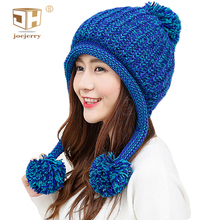 joejerry Bomber Hat Women Trapper Hat With Ear Flap Pompon Knit Cap Russian Winter Hat Ushanka Snow Beanie For Ladies 2018