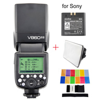 Godox Ving V860II S Li ion Battery Speedlite Flash For Sony A7 A7S A7R A7R II A6000 A6300 MI Hotshoe + Color Filters + Softbox