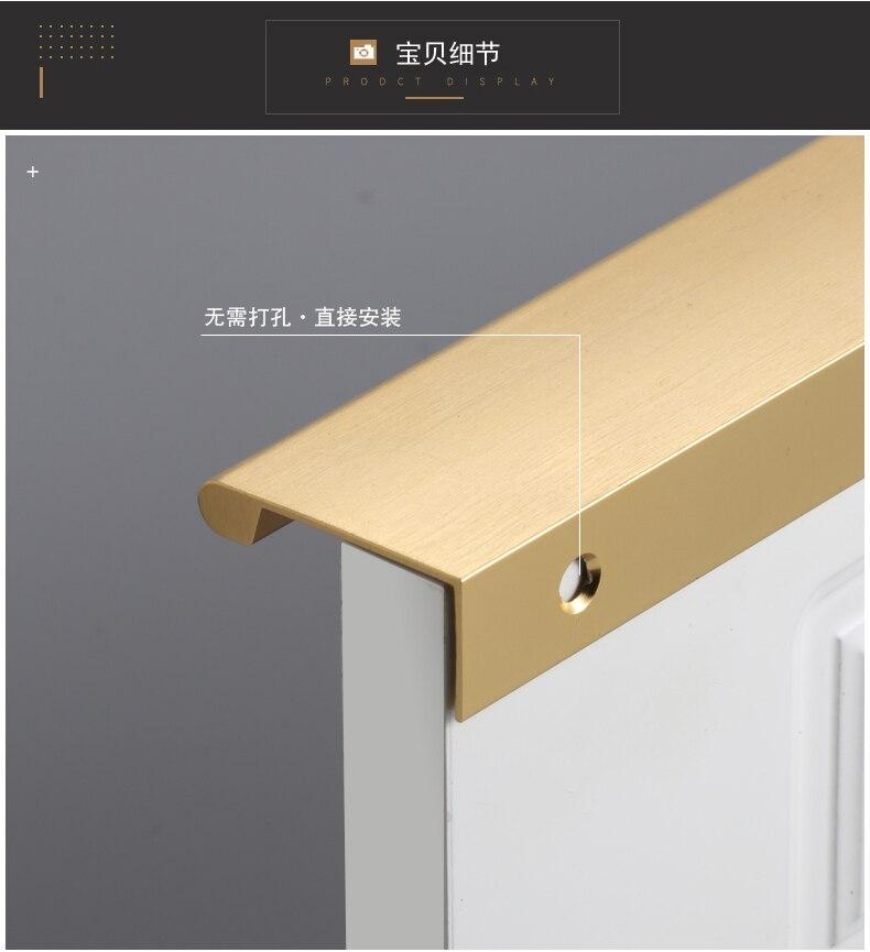 Современная простая Невидимая ручка, черный матовый золотой кухонный шкаф, шкаф, дверная ручка, поверхностный монтаж, длинный край, тяга