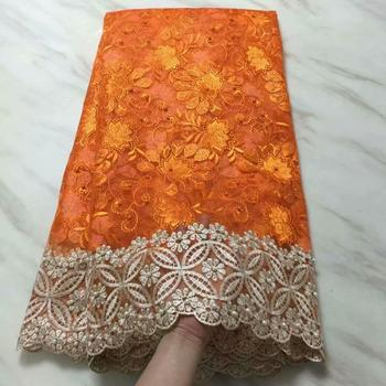 African Lace Fabric 2018 High Quality Lace For Bride Wedding Fabric Nigerian Orange Gold Tulle Lace Fabric With Stones Beads