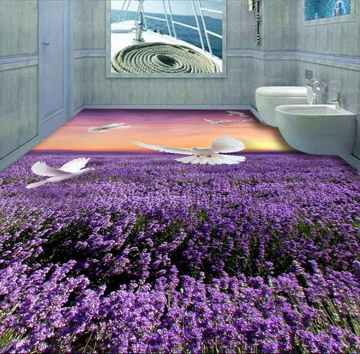 ФОТО Custom PVC wallpaper photo wallpaper Only beautiful lavender dove sitting room 3 d bathroom floor wallpaper