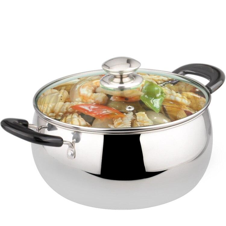 Casseroles en céramique accessoires de cuisine Double oreilles en acier inoxydable Pot à soupe épaisse bouillie poêle cuisinière outils applicables