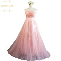 Roze Kant Avondjurk Bruid Sexy Strapless Mouwloos A-lijn Sweep Trein Applicaties Lange Prom Party Gown