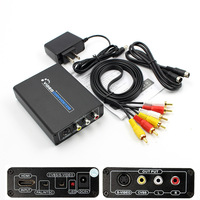 HDMI To 3RCA AV CVBS Composite S Video R L Audio Converter Adapter Upscaler EU Plug