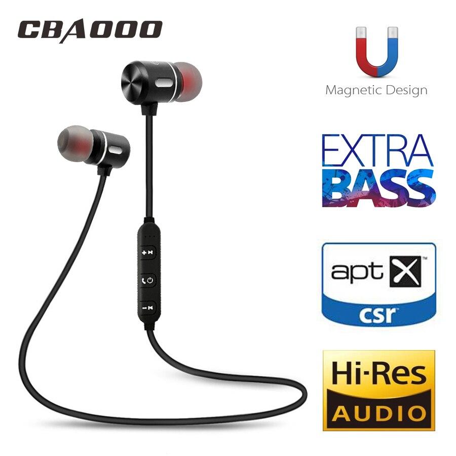 CBAOOO auricular Bluetooth inalámbrico auriculares deporte auricular Bluetooth auriculares magnético del auricular con micrófono para teléfono