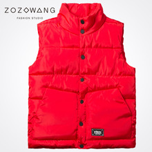 Zozowang 2017 new stand collar solid single breasted plus size autumn winter vest men loose streetwear waist coat 4XL