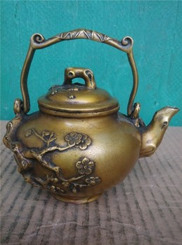 HOT SALE Home OFFICE TOP Decor art - good collection CHINA plum blossom bronze teapot sculpture statue --13 CM SIZE