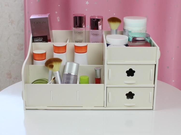 fashion Wood casket Korean Multi color Cosmetic Organizer Makeup Case drawer Holder Storage Box Gift set