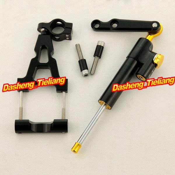 Steering Damper Stabilizer with Bracket Full Set for Kawasaki Ninja 250R 2008 2009 2010 2011 2012,Black
