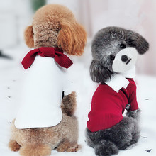 New Fashion Wool Dog Sweater Stripe Knitting with Caps for Small and Medium Pet Clothes Supplies(red,white)