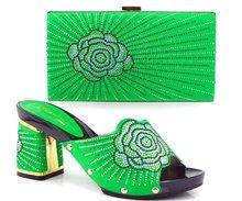 ที่มีคุณภาพสูงรองเท้าอิตาลีจับคู่กับกระเป๋าสำหรับแฟชั่นแต่งงานอิตาลีรองเท้าและชุดกระเป๋าTH16-31สีเขียว