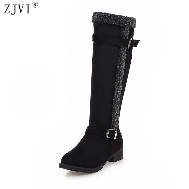 ZJVI/женские сапоги до колена из нубука, сезон осень-зима, модные замшевые женские зимние сапоги до бедра, женская обувь с пряжкой, модель 2018 го...