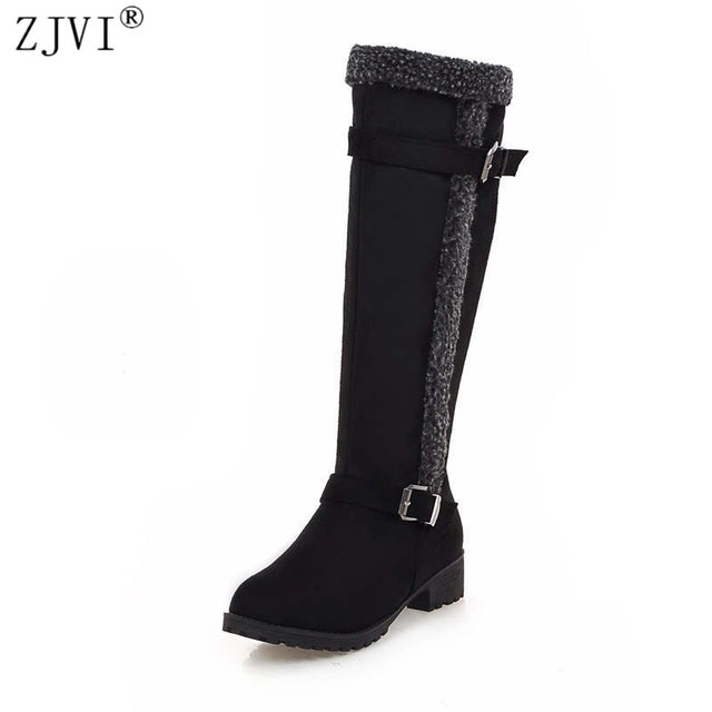 ZJVI Nubuck knee high boots women autumn Winter fashion suede womens thigh high snow boots Female 2018 woman buckle shoes