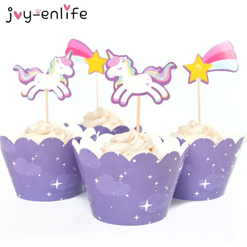 JOY-ENLIFE 24pcs Cute Rainbow Unicorn Meteor Cupcake Wrappers Toppers Kids Children Birthday Party Decor Baby Shower Supplies