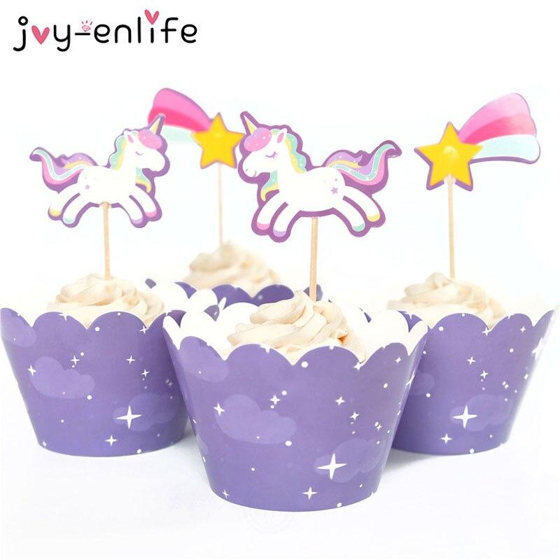 Joy-enlife 24 шт. милые rainbow Unicorn Метеор Завертчицы топперы детей День рождения Декор Baby Shower поставки