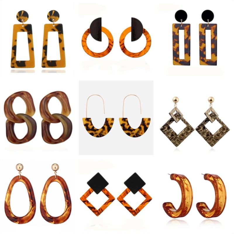 Vintage Acrylic Leopard Print Dangle Earrings For Women Multicolored Big Geometric Long Drop Earring 2019 Bohemian Jewelry