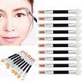 Nova moda de alta qualidade 10 Pcs Maquiagem Duplo-end Sombra Delineador Pincel Esponja Ferramenta Aplicador cor natural Anne