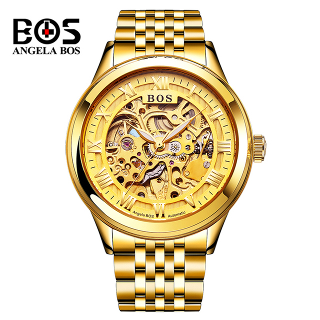 18fba20062 US $90.0 50% OFF|Relogio Masculino ANGELA BOS Gold Skeleton Automatic Watch  Mens Waterproof Luxury Luminous Military Mechanical Wrist Watch Clock-in ...