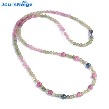 Venta al por mayor natural joursneige turmalina collar con piedras de cristal redondo perlas collar de cadena de la suerte para mujer joyería Popular