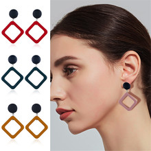 CRLEY Fashion Rhombus Leather Pendant Earrings drop earrings for women Geometric Earrings Punk Personality Jewelry Earrings цена