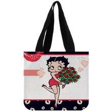 กระเป๋าถือผ้าฝ้ายผ้าใบCUSTOM Betty Boop Shopping Foldable Reusableที่กำหนดเองด้วยโลโก้ของคุณเองขายส่ง