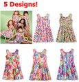 Elegir tamaños muchacha muchachas verano se visten para niños Kids Animal perro conejo gato galletas dulces Jelly Bean Macaron impresión vestidos