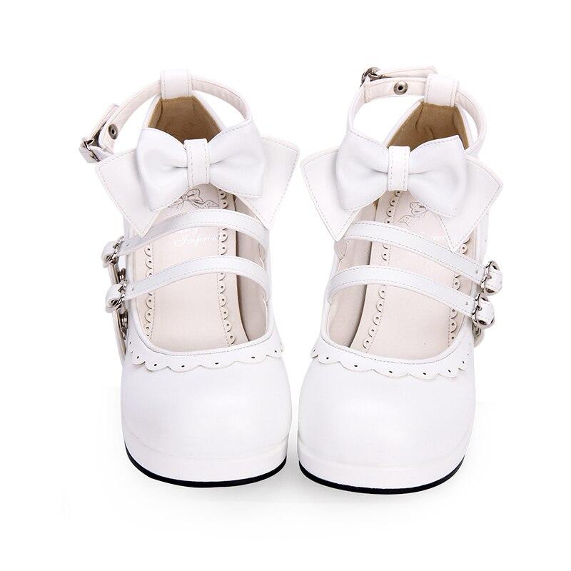 Bout Talons Des Mode 35 Nouvelle Imprintsweet rouge Rond Angélique Lolita Style blanc Pour 46 Tailles À Bowknot Femmes Chaussures 8863 Noir Hauts 870ZS