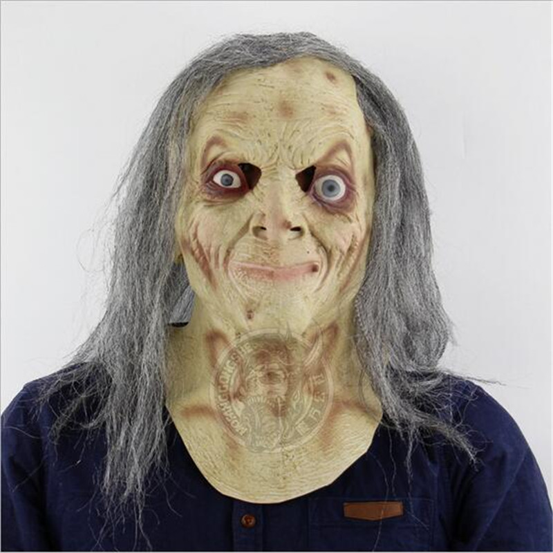 Long Hair Horror Witch Mask Halloween Festival Costume