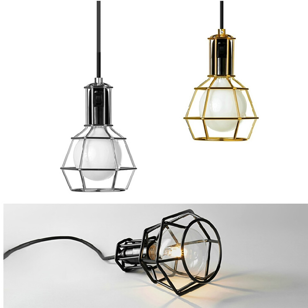 Retro Iron Cage Pendant Light Hanging Lamp Home Indoor Bedroom Kitchen Study Hanging Pendant Lamp Vintage E27 Bulb Fixture