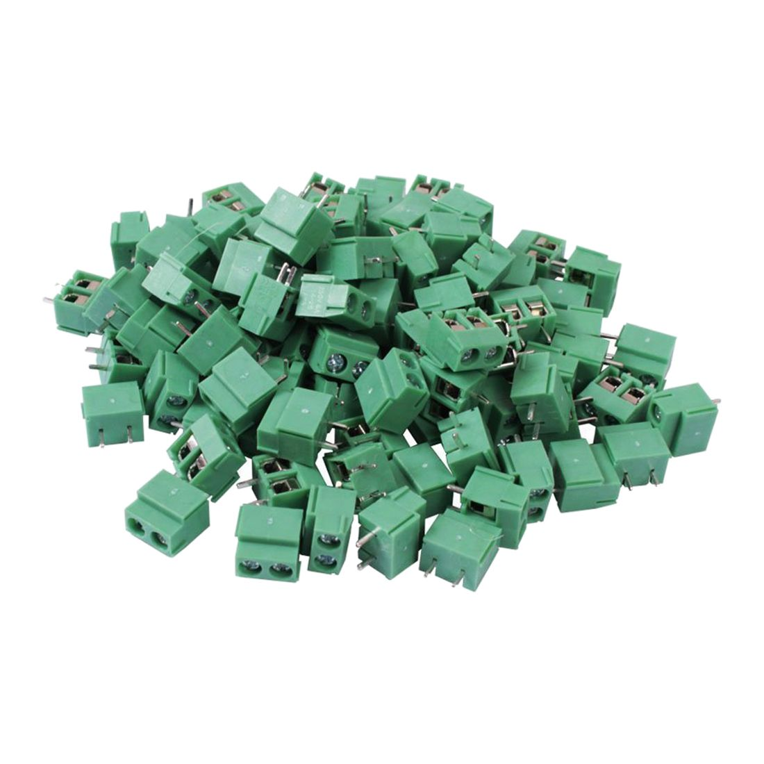 THGS 100PCS 2 Pole 5mm Pitch PCB Mount Screw Terminal Block 8A 250V kf350 2p 3 5mm pitch 7 5mm pcb screw terminal block connectors binding post wire connecting terminals spacing aqjg