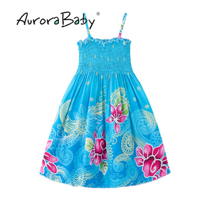Image 2 - AuroraBaby Toddler Girls Maxi Dress For Summer Beach Casual Floral Printed Little Girl Dress Bohemian Style  Free Necklace