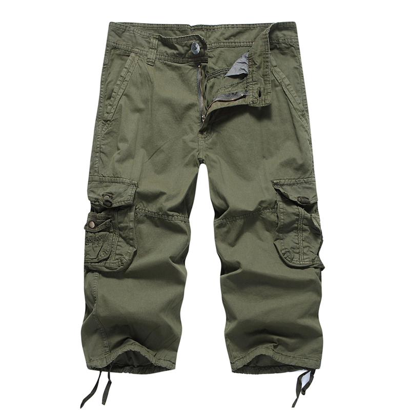 Mens Cotton Long Multi-Pockets Casual Cargo Shorts 2018 Summer Fashion Male Cropped Trousers Joggers Solid Colors Sweatpants