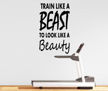 Wall Decal Quote Train Like A Beast To Look Beauty Fitness Motivation Sticker Home House Gym Decoratoion Stickers WW-114