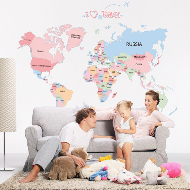 Colored letters world map DIY Vinyl Wall Stickers Kids room love Home Decor office Art Decals 3D Wallpaper stickers on the wall