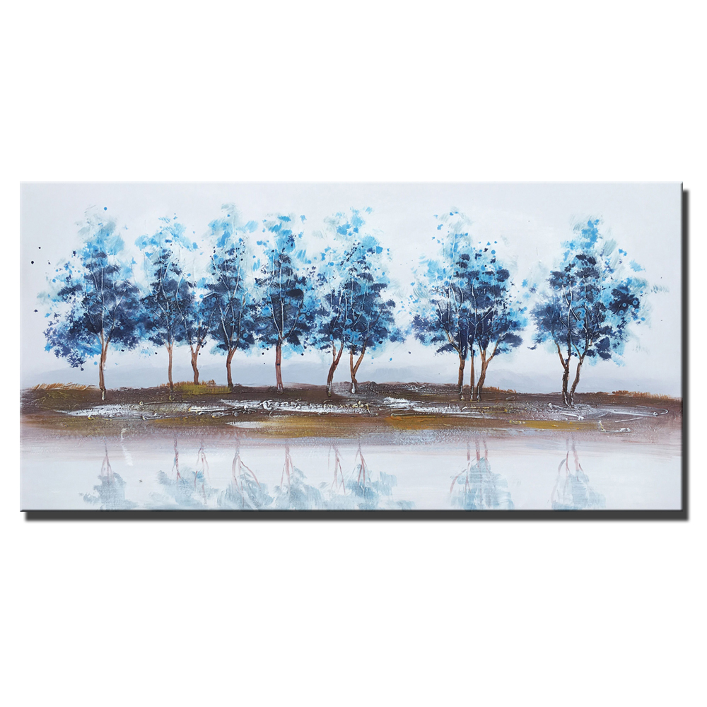 BLUE WINTER TREES ON A CANVAS WALL ART PRINT HOME DECORATION PICTURES PHOTOS