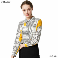 100% Natural Silk Blouses Long Sleeve Button Down Shirt Real Silk Striped Blouse Tops for Women Office Wear Shirts Work Blouses
