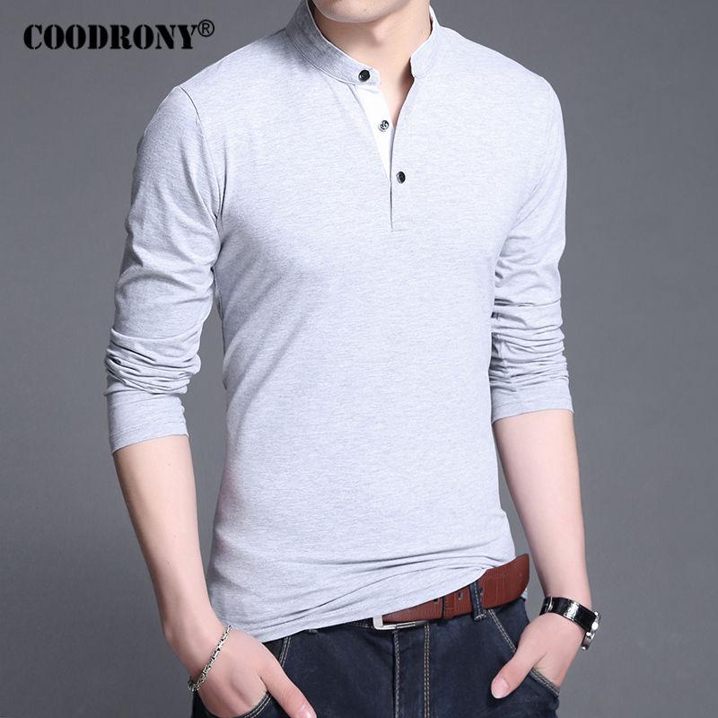 COODRONY Cotton T Shirt Men 2017 New Spring Autumn Long Sleeve T-Shirt Men Mandarin Collar Tshirt Men Fashion Brand Top Tee 7606