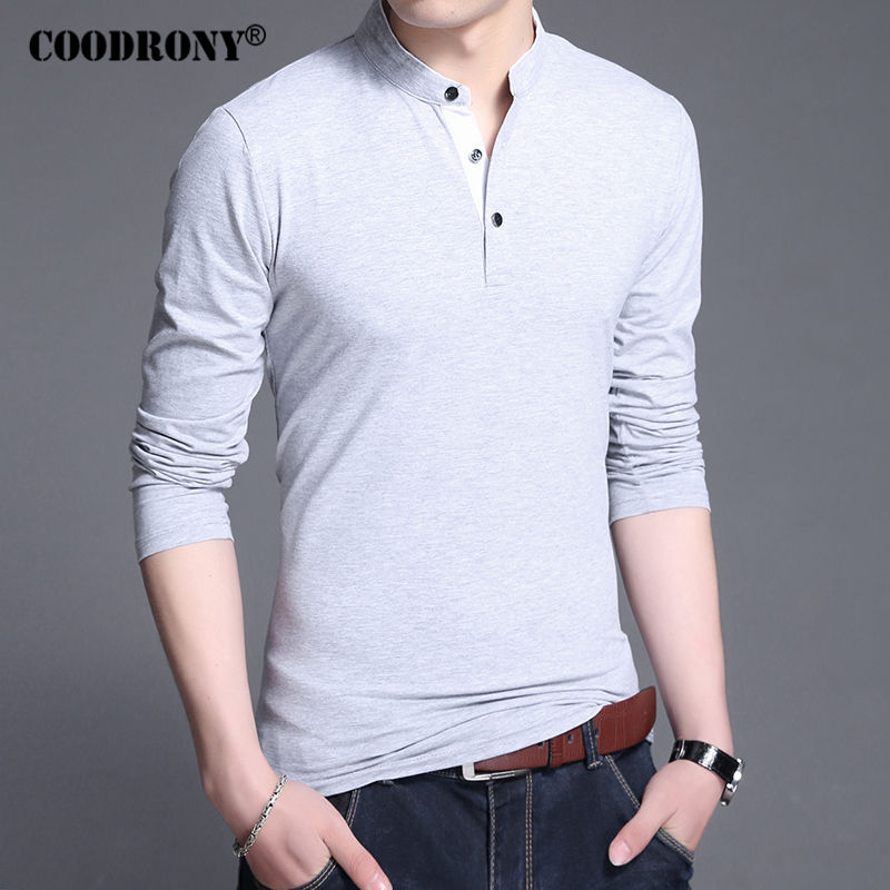 Coodrony cotton t shirt men 2017 new spring autumn long for Mens white cotton t shirts