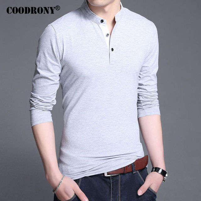 coodrony cotton t shirt men 2017 new spring autumn long sleeve t shirt men mandarin collar. Black Bedroom Furniture Sets. Home Design Ideas