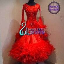 Женское платье для танго вальса, гладкое платье для соревнований по американскому танцу 8, платье для бальных танцев с градиентом, платье с длинными рукавами для бальных танцев