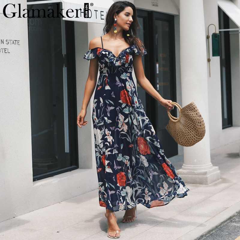 a8d4fda6777d Glamaker Boho flower print ruffle beach dress Women split v neck maxi dress  sundress Sexy club