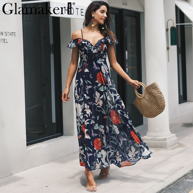 Glamaker boho Dress Glamaker Boho flower print ruffle beach dress Women split v neck maxi dress  sundress Sexy club party winter dress 2018 vestidos