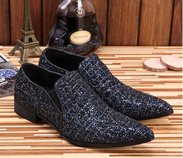 New Imitate Genuine Leather diamond-type lattice Sequin Oxford Shoes Slip-on Men Pointed Shoes Dress Shoes chaussure hommeNew Imitate Genuine Leather diamond-type lattice Sequin Oxford Shoes Slip-on Men Pointed Shoes Dress Shoes chaussure homme