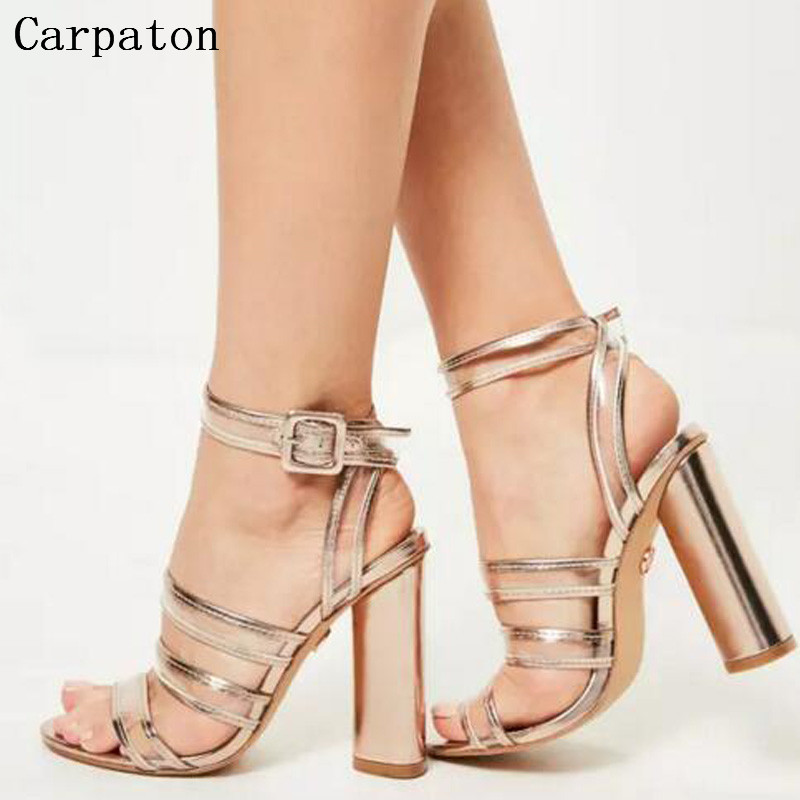 2017 Fashion Summer Buckle Strap Open Toe Women Sandals Wide Band Thick High Heels Slingback Shoes Female Gladiator Sandals 2017 summer new sandals exposed toe high heels female sexy thick with buckle shoes wholesale