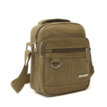 Fashion Canvas Men Zipper Shoulder Bag High Quality Crossbody Bag Black Khaki Brown Handbag Men Bag