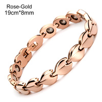 New Arrival Energy Magnetic Germanium Health Bracelets & Bangles For Women Full Rose Gold Plating Bracelet Women Jewelry