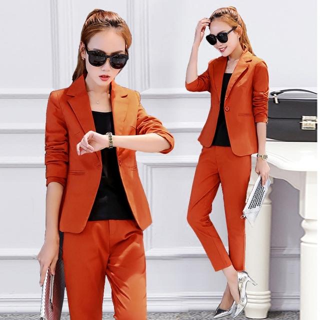 Primera versión Coreana Del otoño de las nuevas mujeres de otoño moda temperamento traje traje de dos piezas ocasional marea pantalones